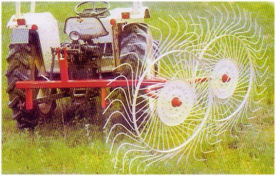 Finger wheels hay rake for small tractors